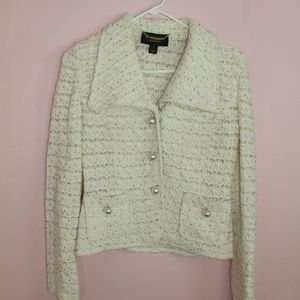 St. John Couture White Knit Jacket with Pearls